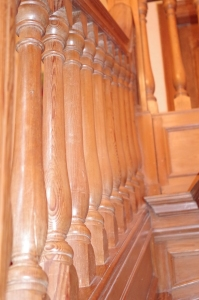 Wooden stair rail